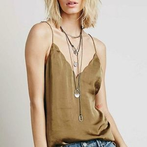Free People Intimately Scallop Satin Olive Cami